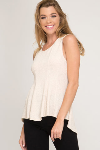 Sleeveless Flitter Knit Fit and Flare Top