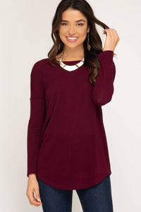 Long Sleeve Knit Top with Strappy Back Detail