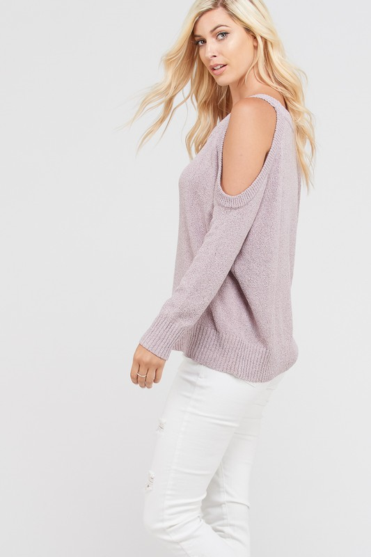 Long Sleeve Fine Cold Shoulder Sweater