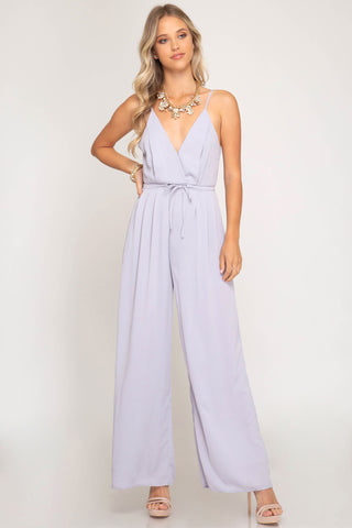 Cami Jumpsuit with Wide Pleated Pants and Waist Tie