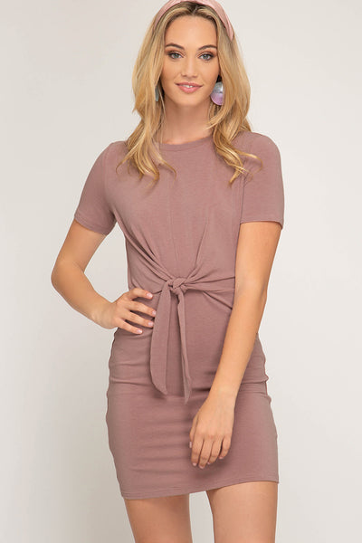 Short Sleeve Knit Dress with Front Tie Detail
