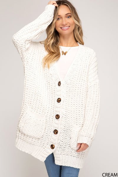 Long Sleeve Button Down Chenille Knit Cardigan Sweater with Pockets