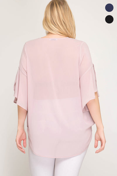 3/4 Bell Sleeve Woven Surplice Hi-Low Blouse with Front Strap Detail