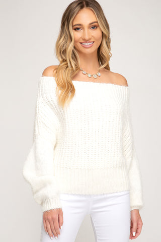 Long Sleeve Boat Neck Sweater Top