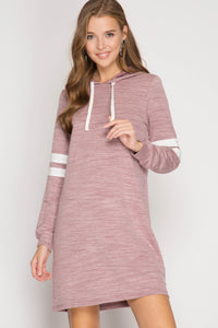 Long Sleeve Sporty Hooded Slub Knit Shift Dress with Contrast Sleeve Stripes