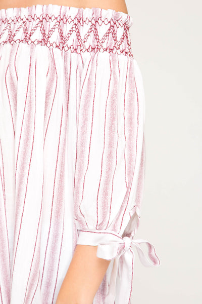 3/4 Sleeve Woven Striped Off The Shoulder Top with Smocking Detail
