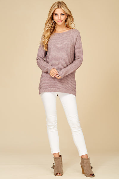 Boat Neck, Horizontal Ribbed, Drop Shoulder, Long Sleeve Pullover Sweater