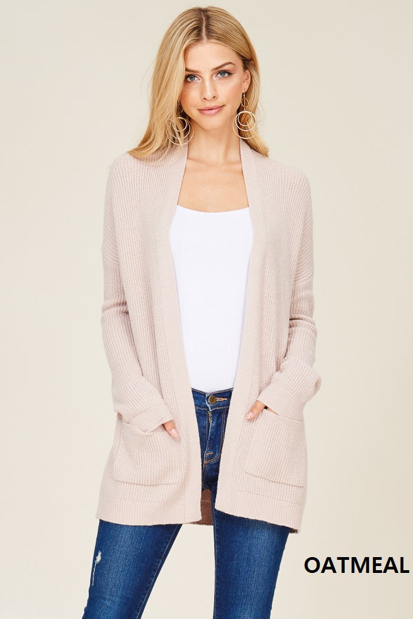 Drop Shoulder, Long Sleeve, Very Soft, Open Front Cardigan with Front Pocket