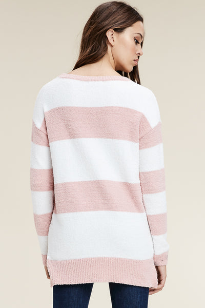 Round Neck, Long Sleeve, Wide Stripe Comfy Pullover
