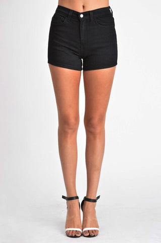 5 Pocket Stretchy Black Shorts