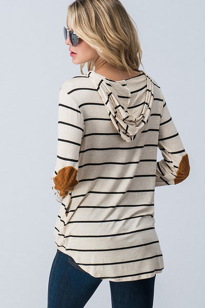 Striped Hoodie with Elbow Patch
