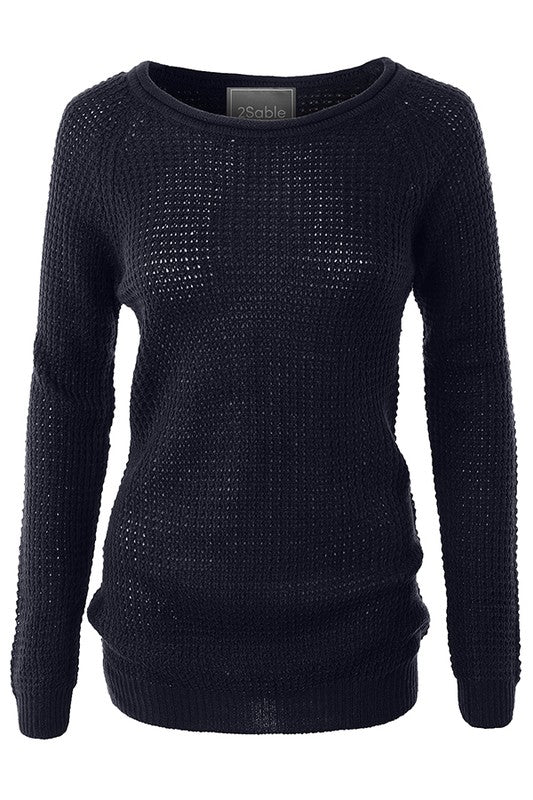 Casual Round Neck Waffle Knit Pullover Sweater Top