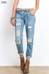 Distressed Bamboo Denim Boyfriend Jeans