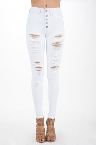 White High Rise Destroyed, Button Up Denim Skinny Jeans