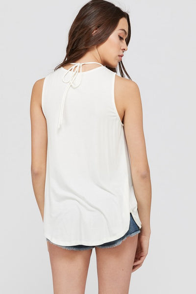 Sleeveless Draped Fold Front X Strap Top