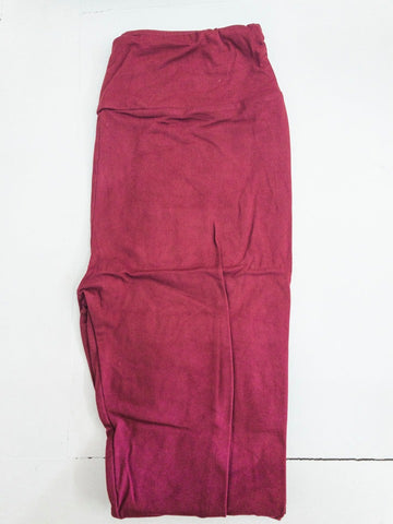 Burgundy Solid Knit Legging with High Waist Yoga Band
