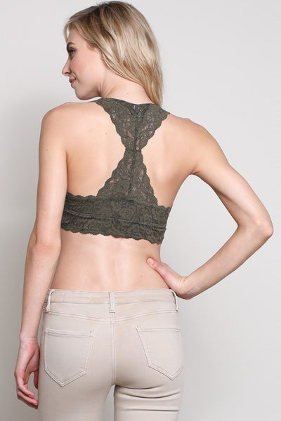Floral Lace Scalloped Edge Racerback Padded Bralette