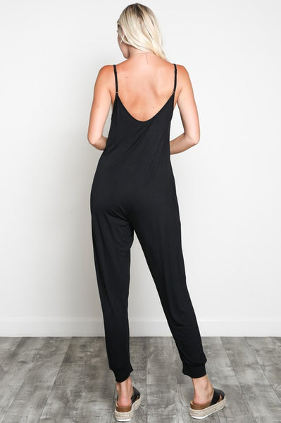 Adjustable Spaghetti Strap Banded Hem Cami Jumpsuit with Pockets
