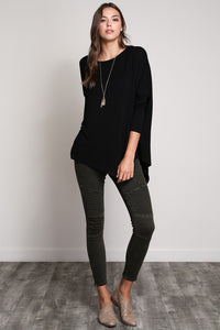 Long Sleeve, Wide Neck Asymetrical Top