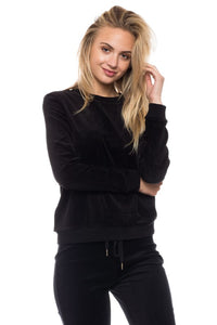 Solid Velvet Crew Neck Sweatshirt