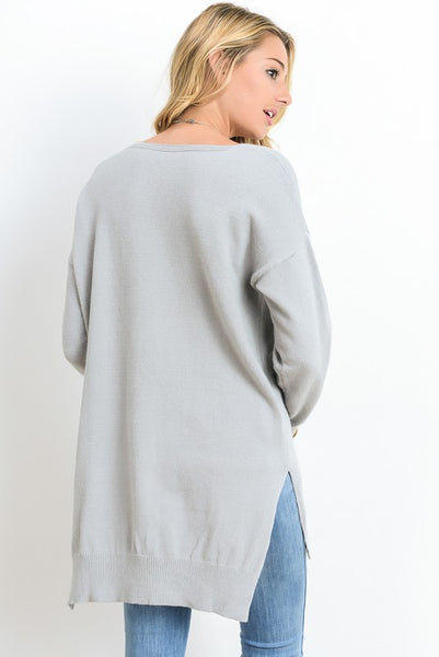 V Neck Long Sleeve Top with Side Slit