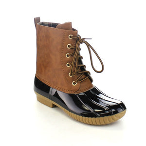 Lace Up Two Tone Calf Rain Duck Boots