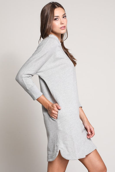 3/4 Sleeve Boat Neck Tunic Dress