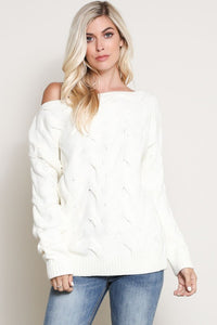 Boat Neck Long Sleeve Cable Knit Sweater Top