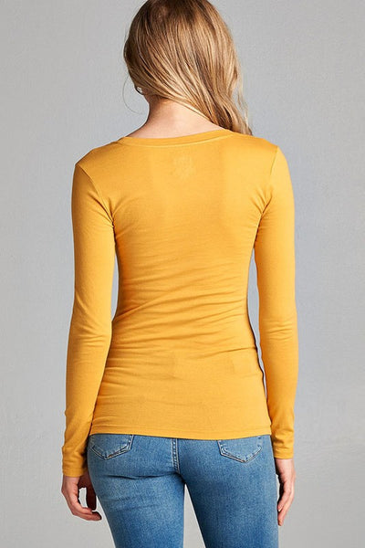 Basic Long Sleeve Stretchy Scoop Neck Top