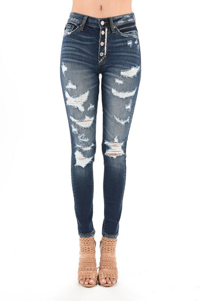 KanCan High Waisted Distressed Jeans