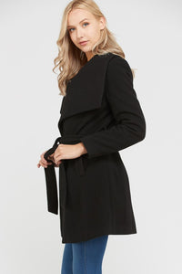 Wide Collar Waist Tie Long Coat