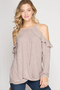Front Twisted Open SHoulder Tunic Top with Ruffle Detail