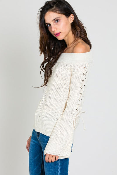 Off Shoulder Sweater with Eyelet Lace Up Sleeve