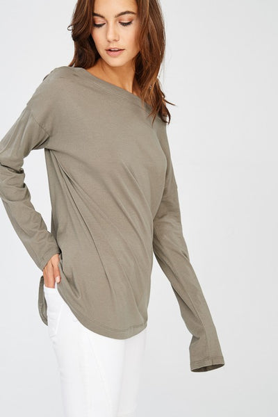 Long Sleeve Cotton Knit Boat Neck T Shirt Top