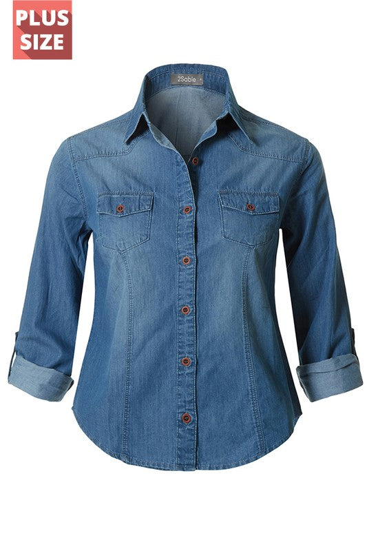 Curvy Girl Denim Roll Up Long Sleeve Button Down Top