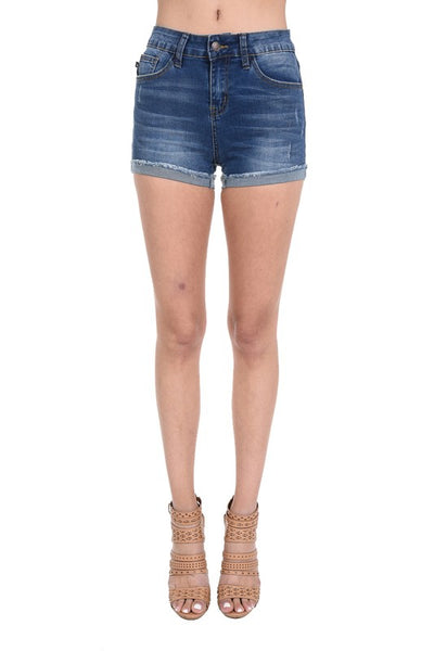 Dark Bue Cuffede Non Distressed Shorts