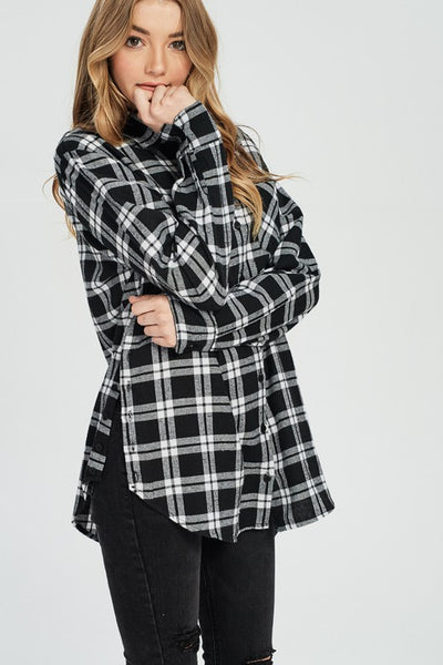 Long Sleeve Flannel Boyfriend Button Down Shirt