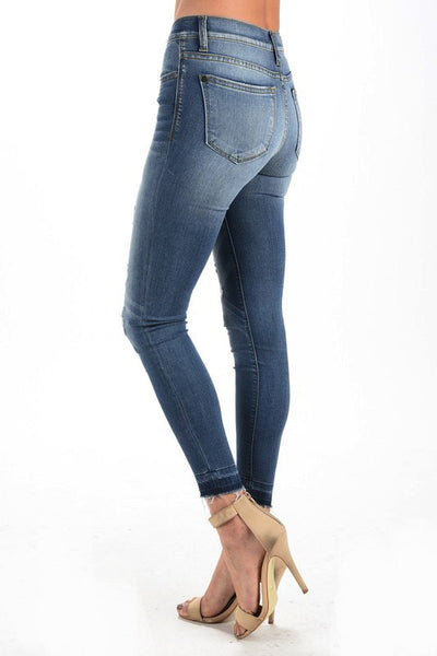Women's Skinny Jeans with Inside Patches Sewn In