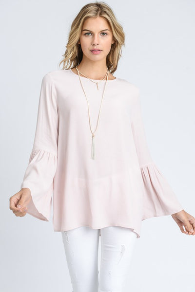 Shirring Bell Sleeve with Keyhole Back Detail Top