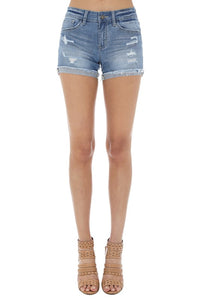 High Rise, Extra Stretchy Denim Shorts with Cuffed Hem