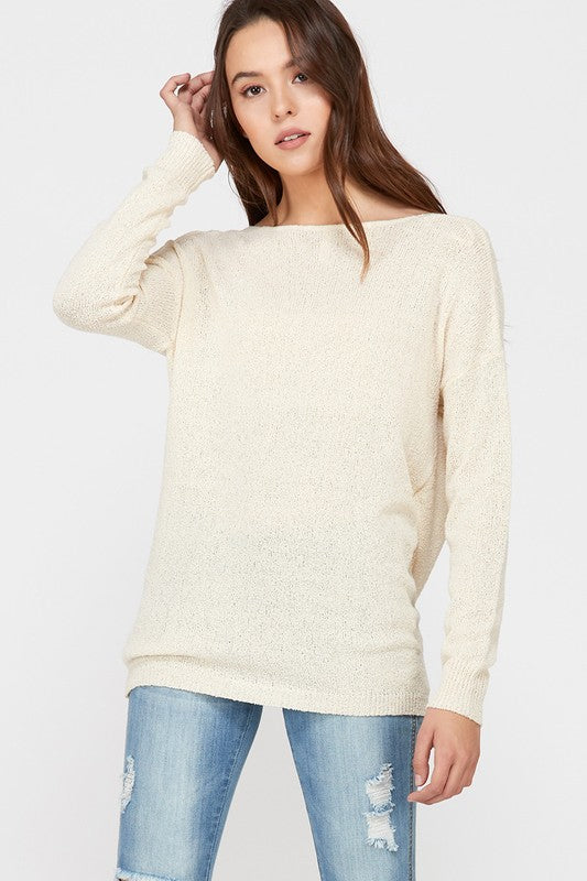 Reversible Plunging Crossover Boucle Sweater