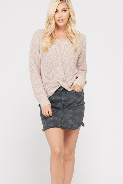 Long Sleeve Twisted Knot Fine Boucle Sweater