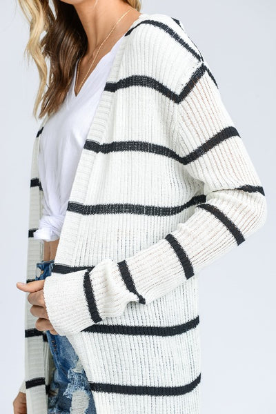 Long Sleeve Ribbed Long Open Cardigan