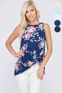 Sleeveless Floral Tunic Top with Front Knot Detail