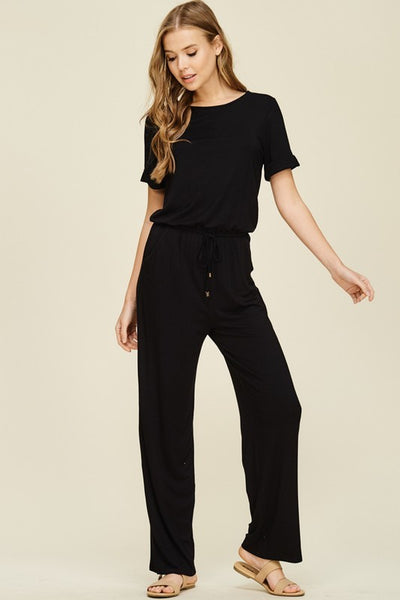 Casual Relax Fit Jumpsuit with Pockets and Keyhole Back