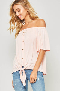 Knit Off-The-Sholder Top with Elasticized Neckline, Short Bell Sleeves, Button Down Front & Knotted Hem Detail