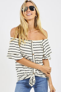 Striped Off Shoulder Button Down Front Top
