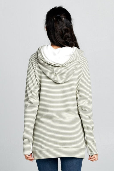 Stripe Sleeved Color Block French Terry Doubled Hoodie Sweatshirt with Zipper Neck & Hidden Thumbhole