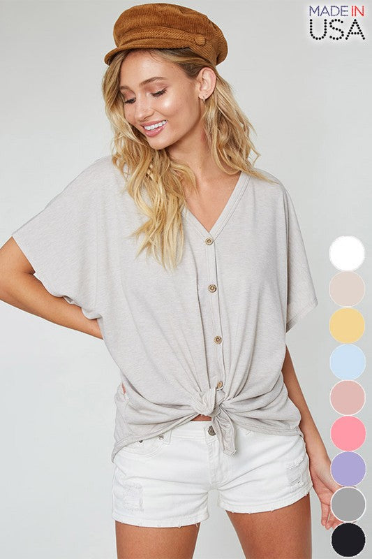 Self-Tie Front Button Down Top
