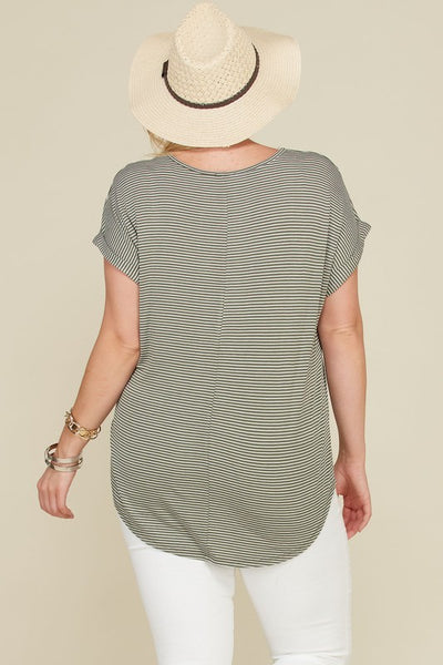 Drop Shoulder Stripe Tunic Top with Front Tie Detail